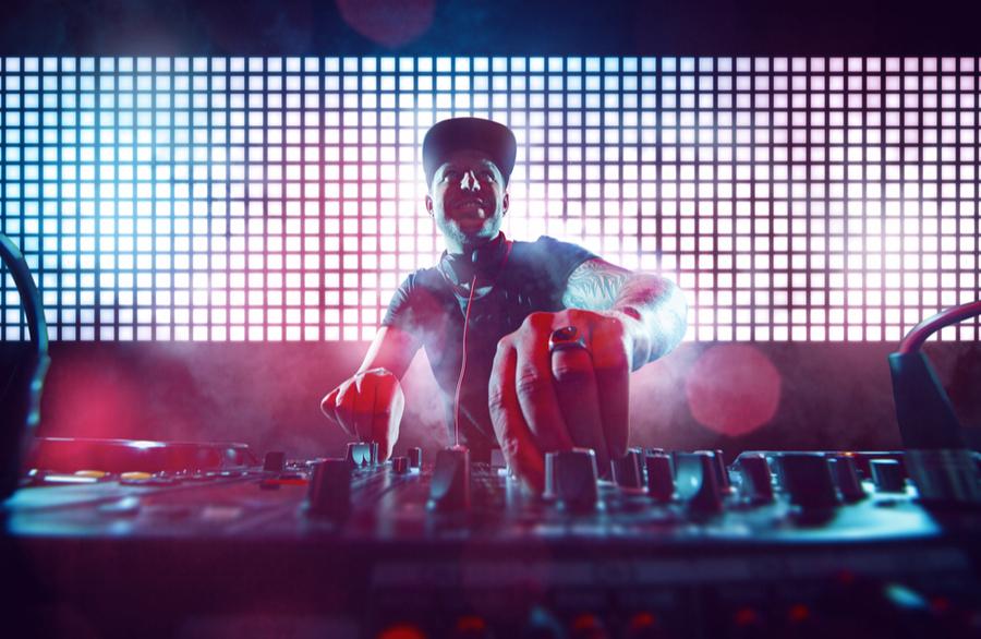 A DJ in a club at New York nightclub