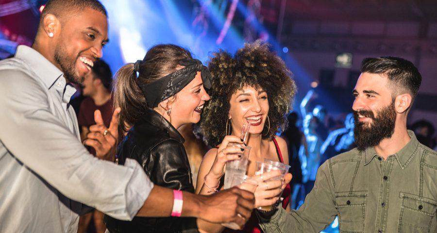 four friends in a nightclub in new york