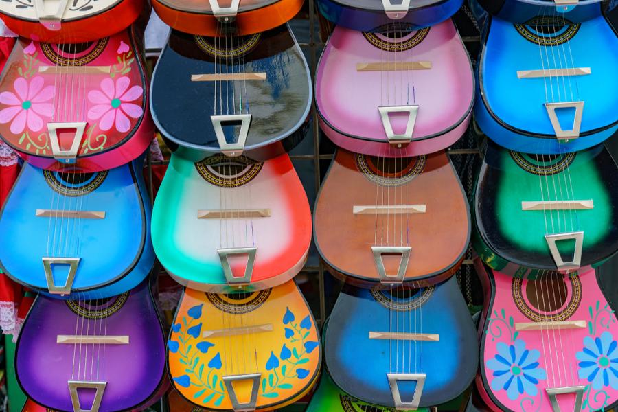 Close up shot of colorful ukulele at Olvera Street, Los Angeles