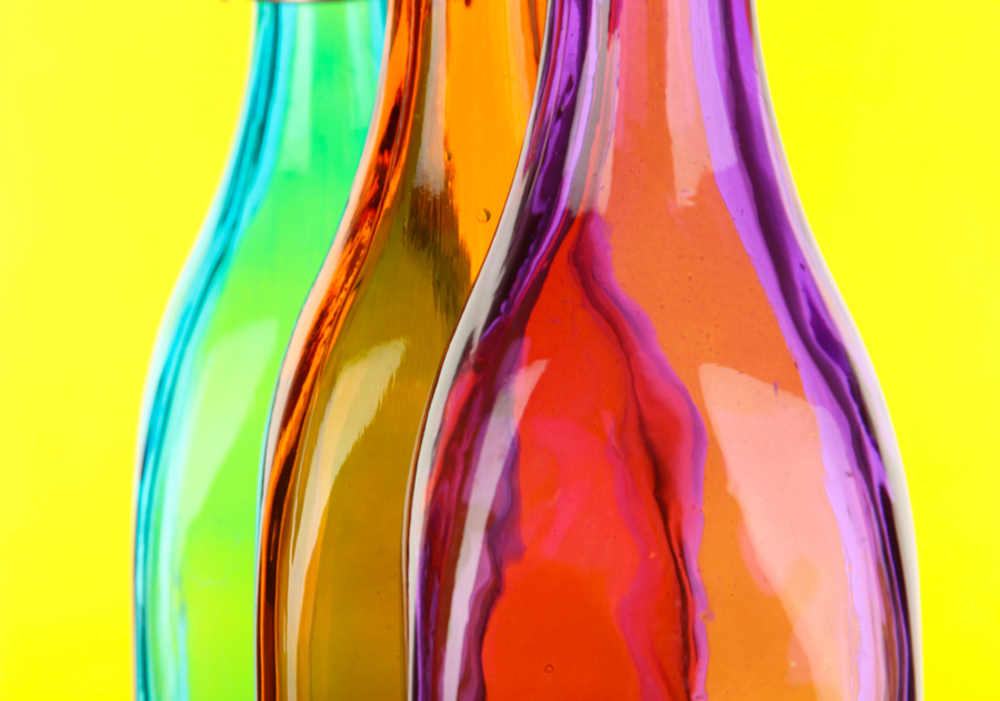 Colorful bottles making in california los angeles