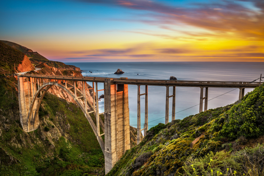 california PCH at sunset - where to visit in December